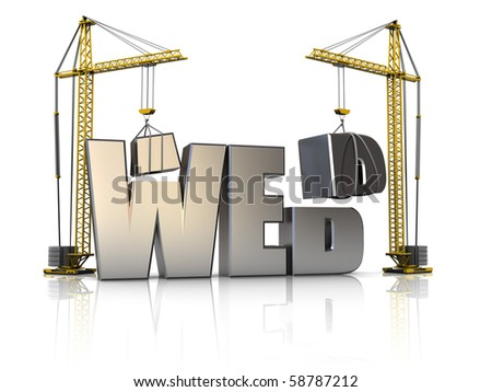 3d illustration of cranes building web sign, over white background - stock photo