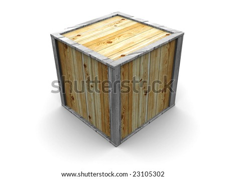 3d illustration of crate over white background