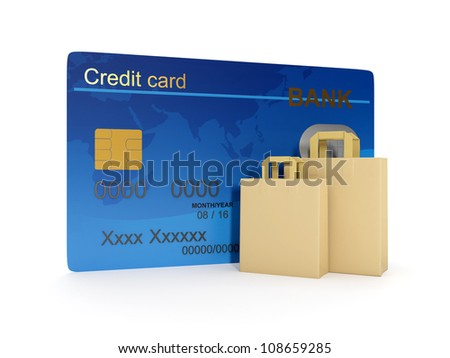 3d illustration of Credit Card and a group of paper bags for shopping