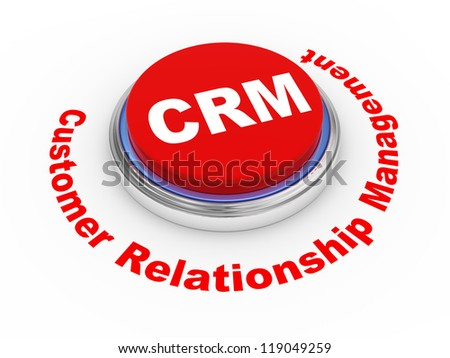 3d illustration of crm (Customer Relationship Management) button - stock photo