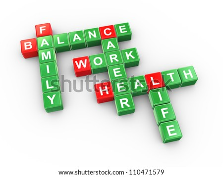 3d illustration of crossword of balancing work and life concept - stock photo