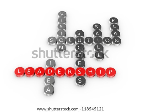 3d illustration of crossword of leadership concept - stock photo