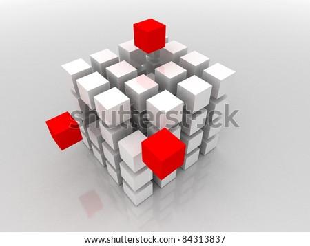 3d illustration of cube built from blocks - stock photo