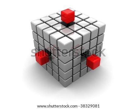 3d illustration of cube built from blocks over white background - stock photo