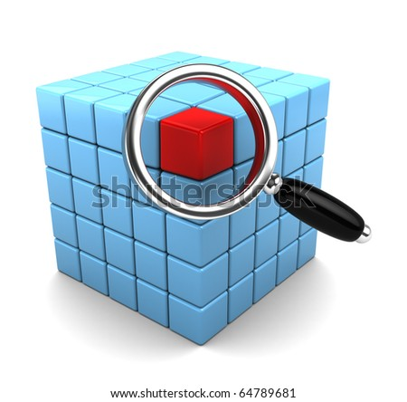 3d illustration of cube structure and magnify glass, data search concept