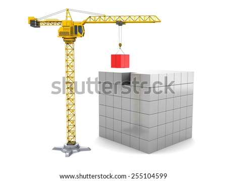 3d illustration of cubes construction with yellow crane tower - stock photo