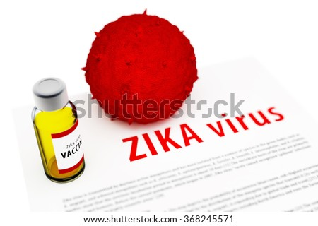 3d illustration of cure vaccine and model of ZIKA virus isolated on white background - stock photo