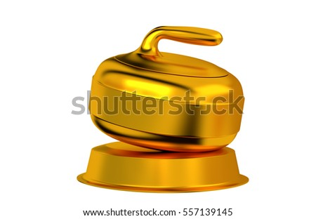 3D illustration of Curling Golden Trophy with white background