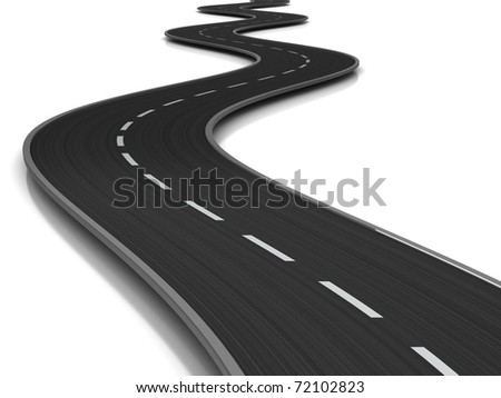 3d illustration of curved road over white background - stock photo