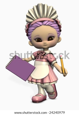 3d illustration of cute cartoon figure dressed as waitress with notepad and pencil - stock photo