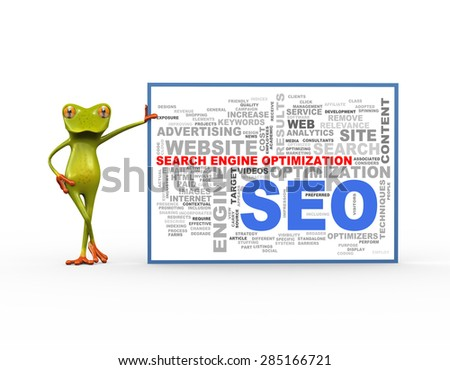 3d illustration of cute green frog standing with wordcloud word tags of seo search engine optimization - stock photo