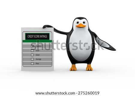 3d illustration of cute penguin standing with credit score rating. - stock photo