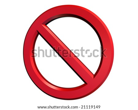 3d illustration of danger or cancel sign isolated - stock photo