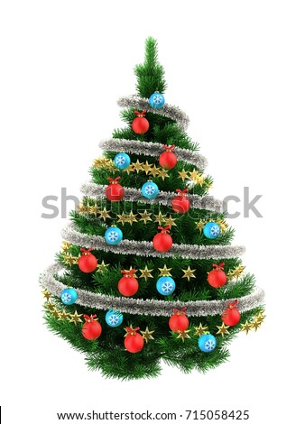 3d illustration of dark green Christmas tree over white with red balls and frippery