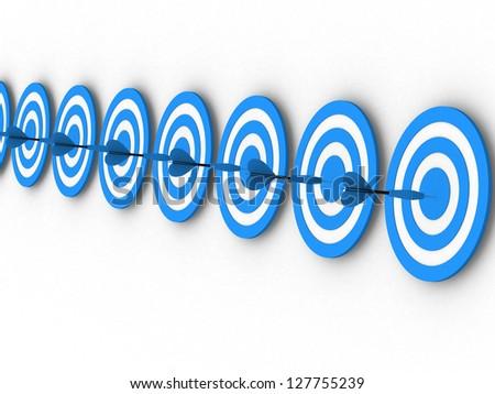 3d illustration of darts, right target concept - 3d render - stock photo