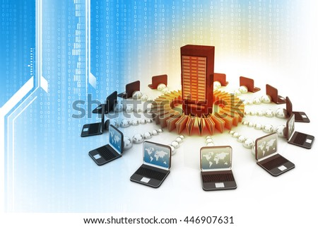 3d illustration of Data sharing concept. Technology background	 - stock photo