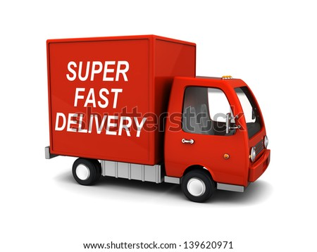 3d illustration of delivery truck with 'super fast delivery' sign - stock photo