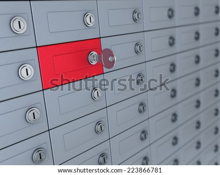 3d illustration of deposit boxes with one selected - stock photo
