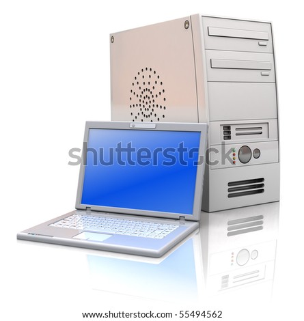 3d illustration of desktop and laptop computers