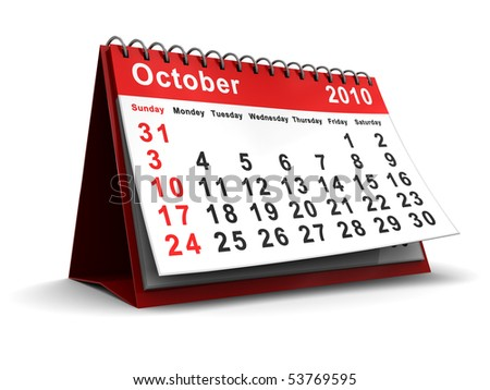 3d illustration of desktop calendar with october 2010 page open - stock photo