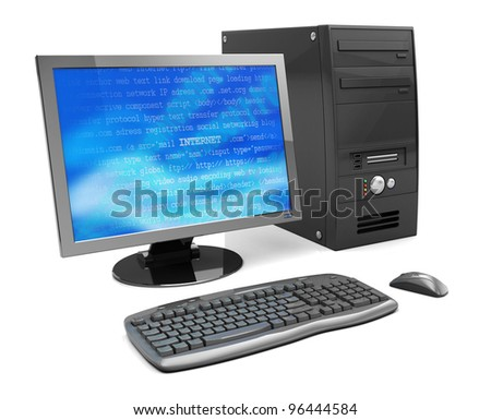 3d illustration of desktop computer, black color