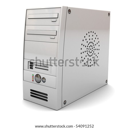3d illustration of desktop computer case tower, over white background - stock photo
