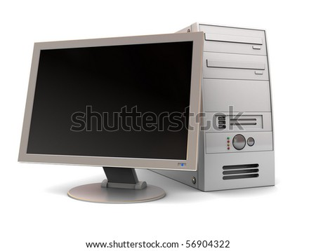 3d illustration of desktop computer over white background