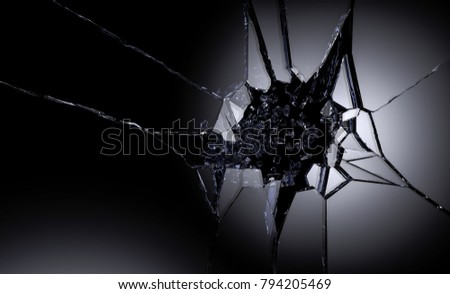 3D illustration of destructed or shattered glass surface over black background