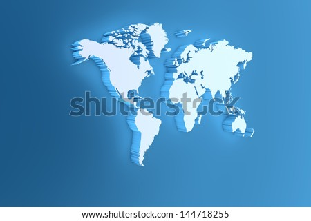 3D Illustration of Detailed Map Render on Blue Background - stock photo