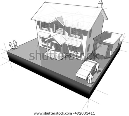 3d illustration of diagram of a classic colonial house with garage and car