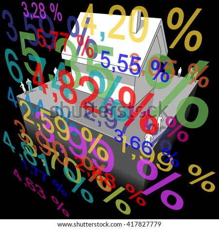 3d illustration of diagram of a detached house with many interest rate percents in front of it - stock photo