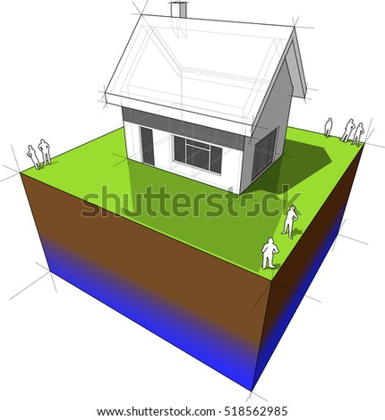 3d illustration of diagram of a simple detached house with doors and windows