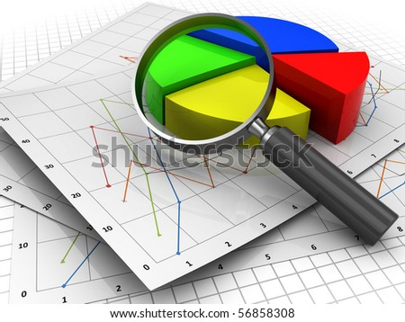 3d illustration of diagrams and magnify glass, business analyzing concept - stock photo