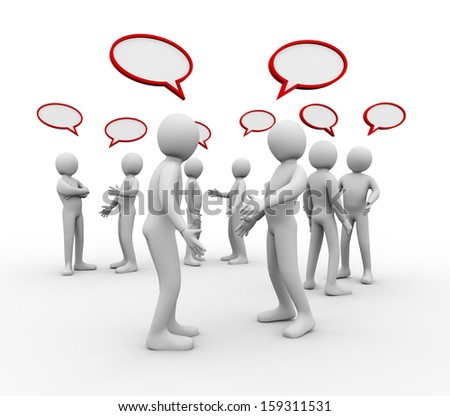 3d illustration of different groups of people with empty bubble speech talking and discussion.  3d rendering of human people character.