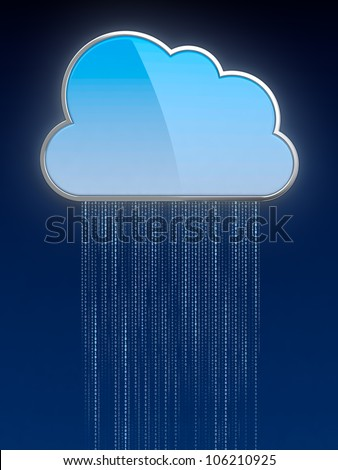 3d illustration of digit rain from computing cloud - stock photo