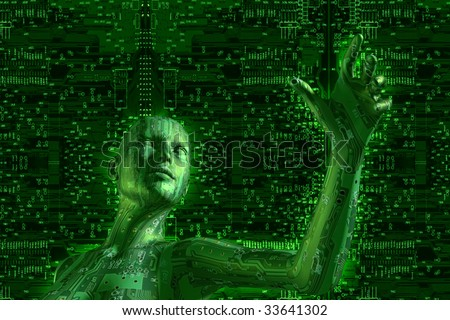 3D illustration of digital cyber girl in cyberspace. - stock photo