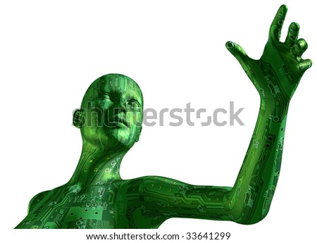 3D illustration of digital cyber woman, isolated in white background - stock photo