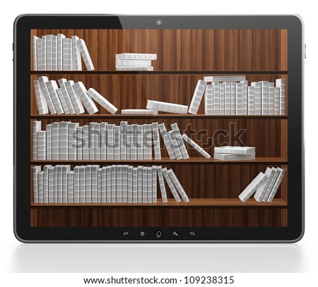 3D illustration of digital library concept - stock photo