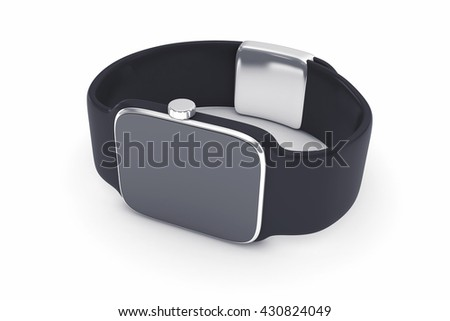 3d illustration of digital smart watch of black color