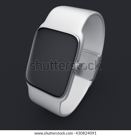 3d illustration of digital smart watch of white color