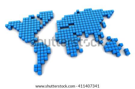 3d illustration of digital world map - stock photo