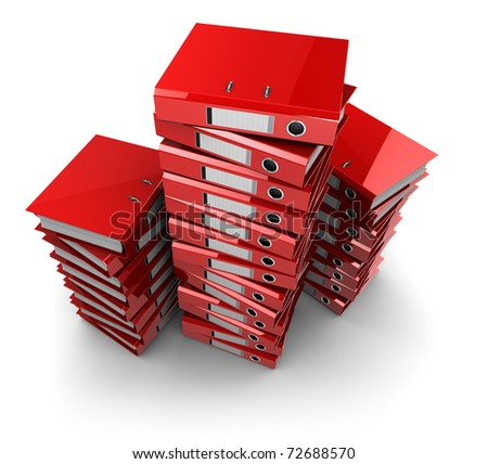 3d illustration of documents folders heap, over white background - stock photo