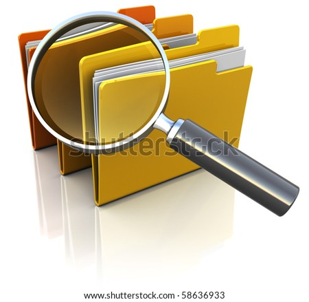 3d illustration of documents folders with magnify glass - stock photo