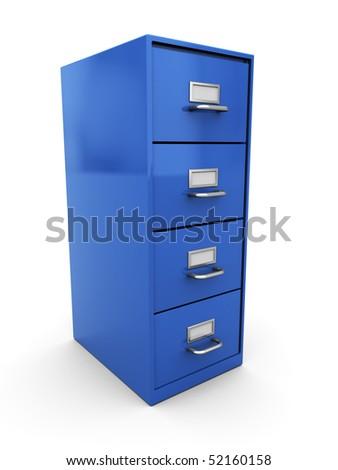 3d illustration of documents shelf over white background - stock photo