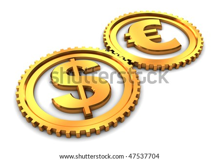 3d illustration of dollar and euro gear wheels connected