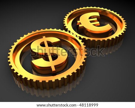 3d illustration of dollar and euro gear wheels system, over dark background