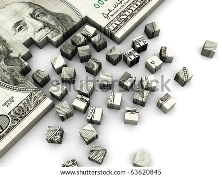 3d illustration of dollar banknote built from cube blocks - stock photo