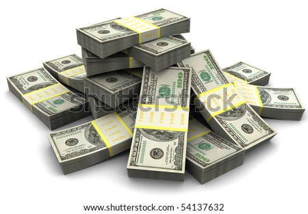 3d illustration of dollar banknotes heap, over white background - stock photo
