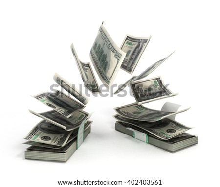 3d illustration of dollar bills fly out of the pack to pack isolated on white background - stock photo