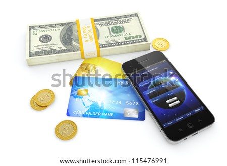 3D illustration of dollar bills, golden coins, credit cards, and smartphone with mobile banking application on screen - stock photo
